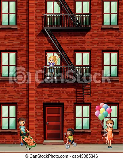 Eps Vector Of Apartment Building With Many Kids Illustration