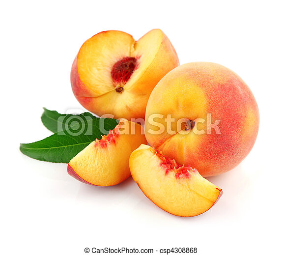 fresh peach fruits with green leaves - csp4308868