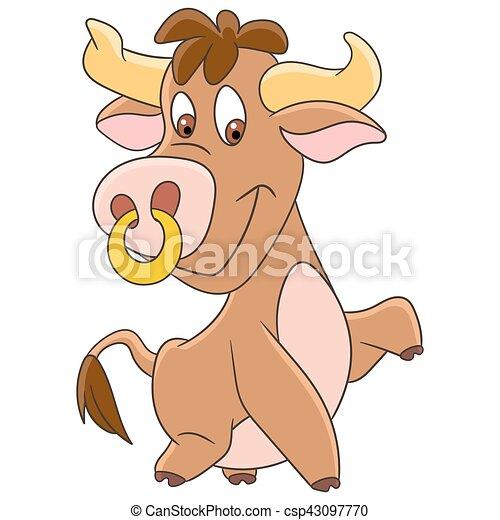 cartoon american bull - csp43097770