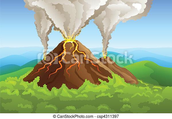 fuming volcano among green mountain - csp4311397