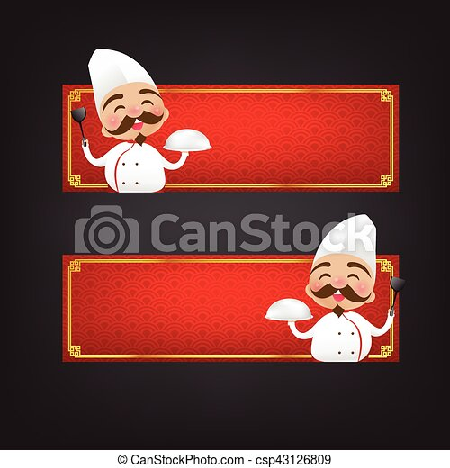 Chinese chef cartoon have smile with red blank banner vector illustration eps10 - csp43126809