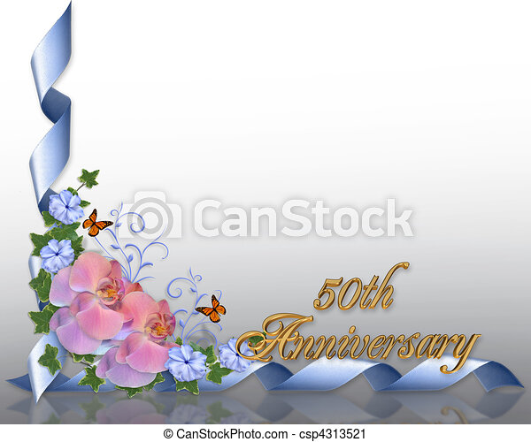 Stock Illustration 50th anniversary border orchids