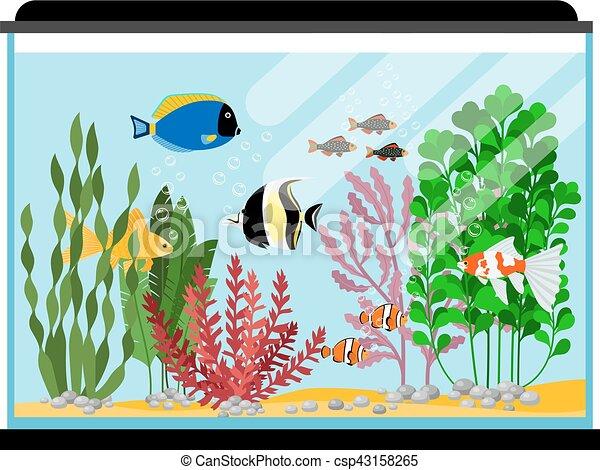 Clip Art Vector of Cartoon fishes in aquarium. Saltwater ...