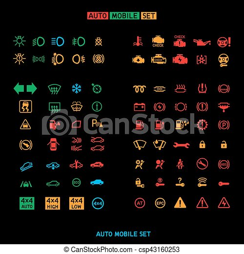 Armaturenbrett symbole  Clipart Vektor von auto, satz, auto, zeichen - Car, schaltbrett ...