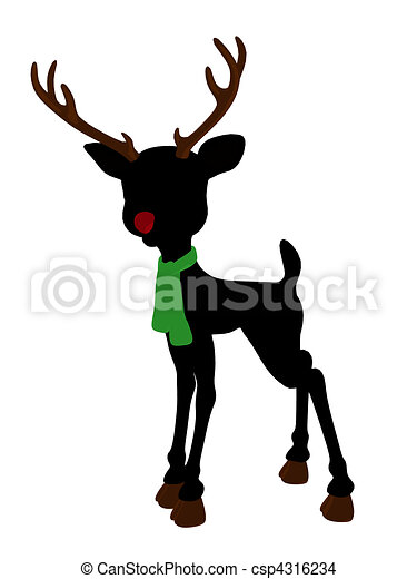Rudolph The Red Nosed Reindeer Silhouette Illustration - csp4316234