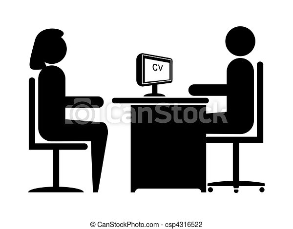 Clip Art Of Job Interview 2 Silhouette Job Interview