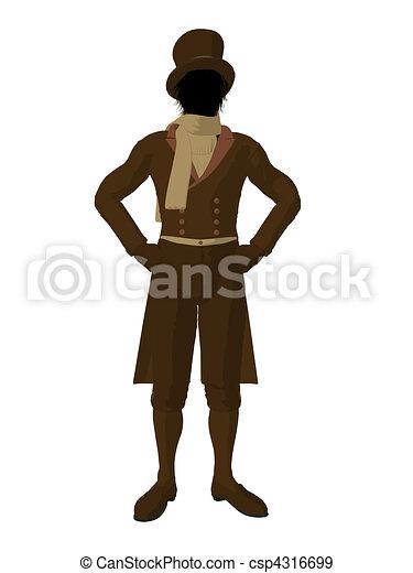 Victorian Man Illustration Silhouette - csp4316699