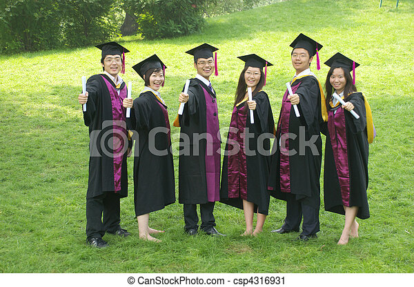 Stock Photography of graduation - Asian students wear gown on ...