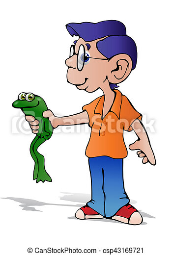 Clip Art of boy hold toad - illustration of a smart boy wearing ...