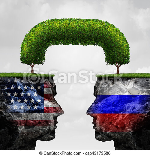 American Russian Cooperation - csp43173586