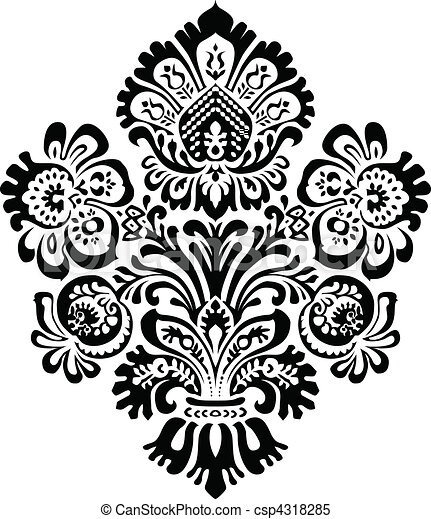 Vector Ornate Floral Ornament - csp4318285