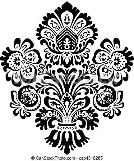 Vector Ornate Floral Ornament - csp4318285