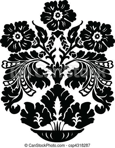 Vector Floral Vase Ornament - csp4318287