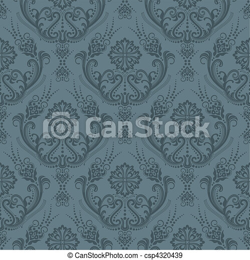 Luxury grey floral wallpaper - csp4320439