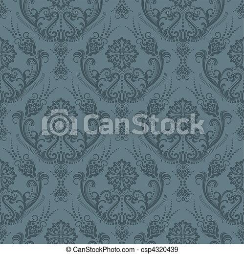 Luxury grey floral wallpaper - csp4320439