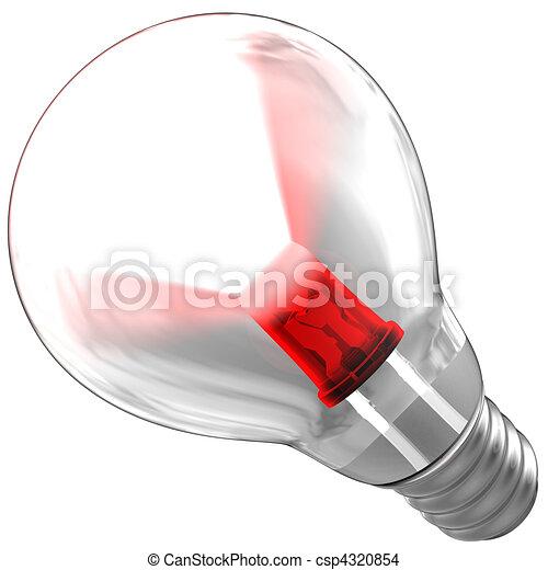 LED emitting a light beam inside a bulb - csp4320854