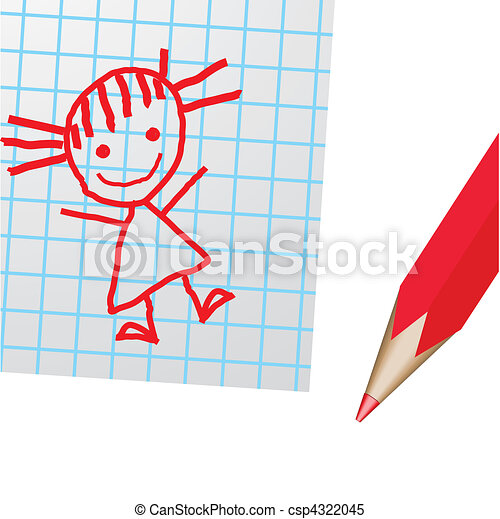 Drawing on a paper and a red pencil - csp4322045