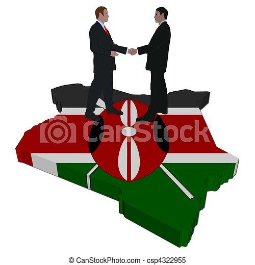 Business people on Kenya map flag - csp4322955