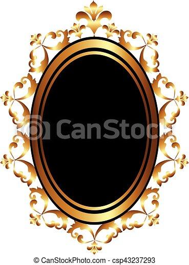 Eps vectores de dorado barroco marco espejo dorado for Espejo barroco