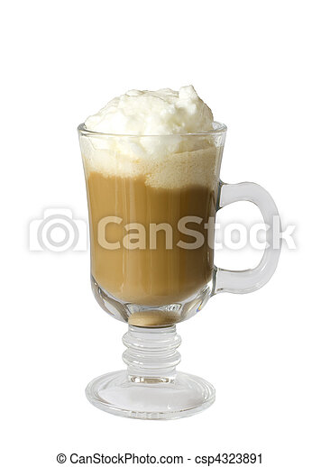Coffee latte with wipped cream isolated on white background - csp4323891