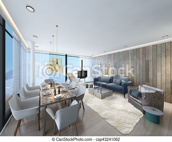 3d illustration of a modern apartment living room - csp43241062