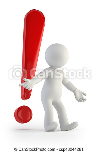 3d small people - red exclamation mark - csp43244261