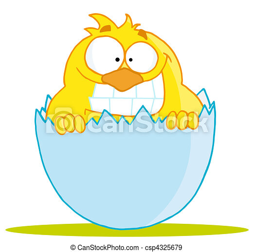 Yellow Chick With A Big Toothy Grin - csp4325679