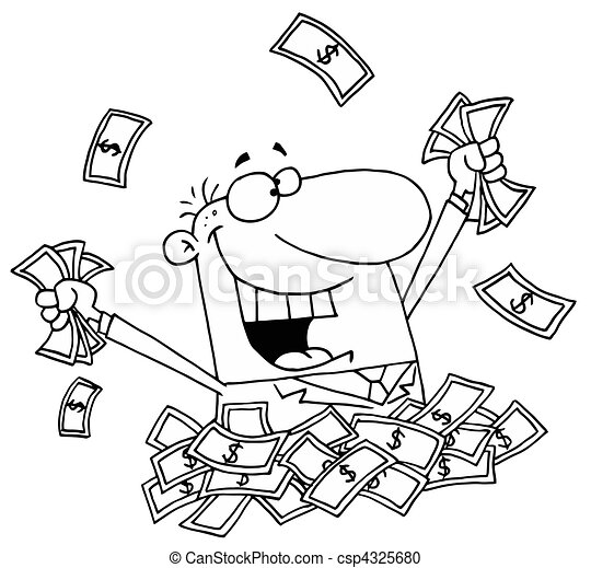 Happy Man in a Pile of Money - csp4325680