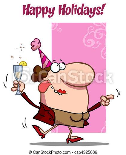 Happy Holiday Dance Lady - csp4325686