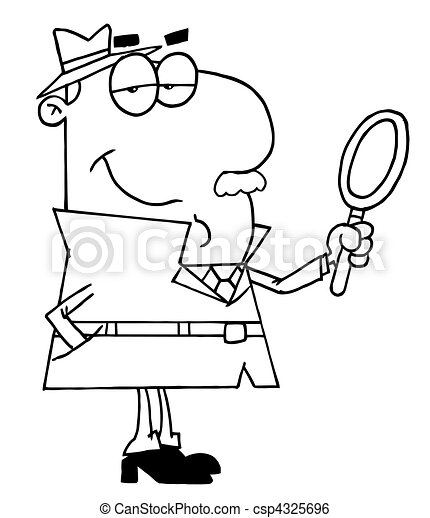 Outlined Male Detective  - csp4325696