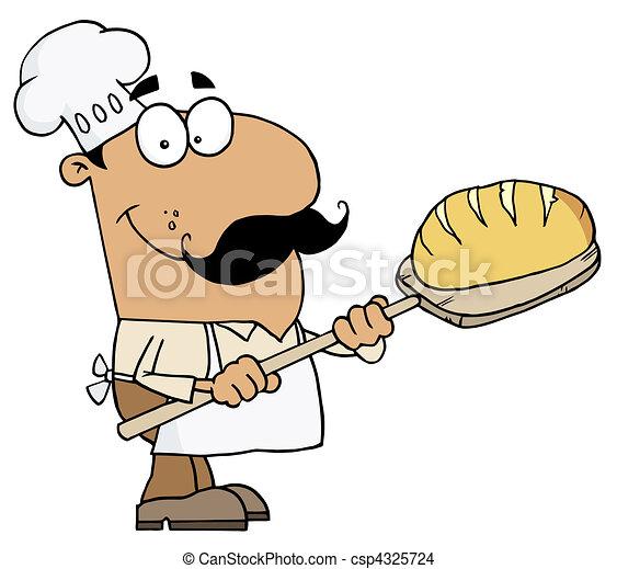 Hispanic Cartoon Bread Baker Man  - csp4325724