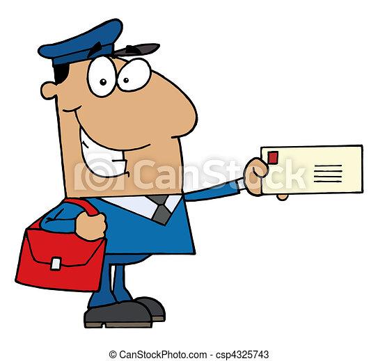 Hispanic Mail Man Holding A Letter  - csp4325743