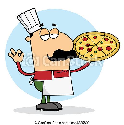 Pleased Caucasian Pizza Chef - csp4325809