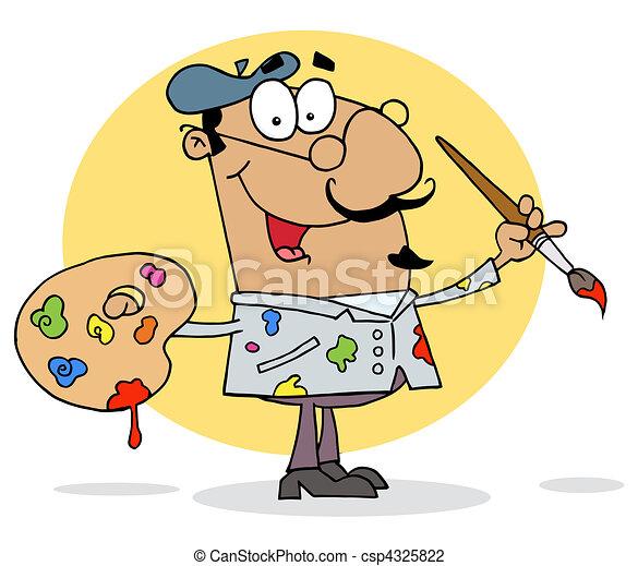 Hispanic Cartoon Artist Painter  - csp4325822
