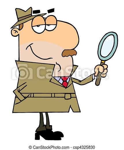 Caucasian Cartoon Detective Man - csp4325830