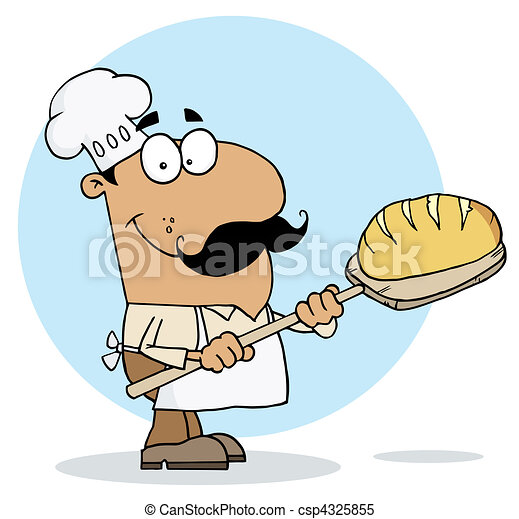 Hispanic Cartoon Bread Maker Man  - csp4325855