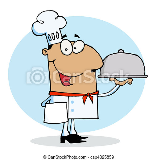 Hispanic Chef Guy Serving Food - csp4325859