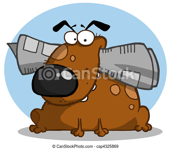 Brown dog holds newspaper in mouth  - csp4325869