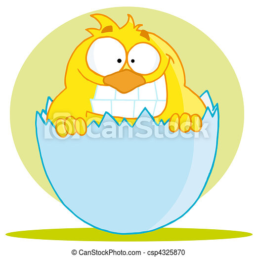 Yellow Chick With A Big Toothy Grin - csp4325870