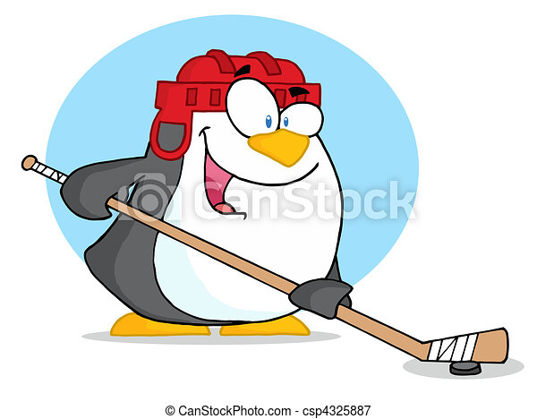 Sporty Penguin Playing Ice Hockey  - csp4325887