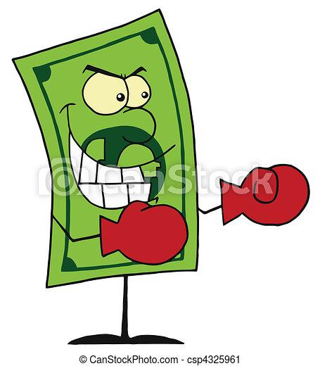 Dollar Bill Wearing Boxing Gloves - csp4325961