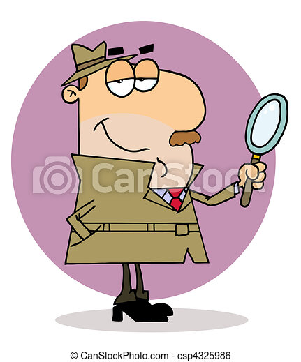 Caucasian Cartoon Investigator Man  - csp4325986
