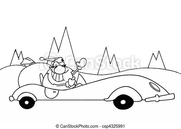 Santa Driving A Convertible - csp4325991