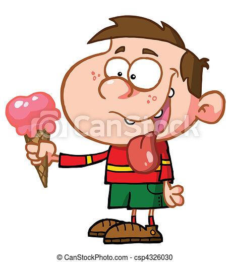 Little boy eating an ice cream  - csp4326030