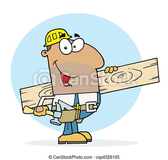 Happy Hispanic Worker Man  - csp4326105