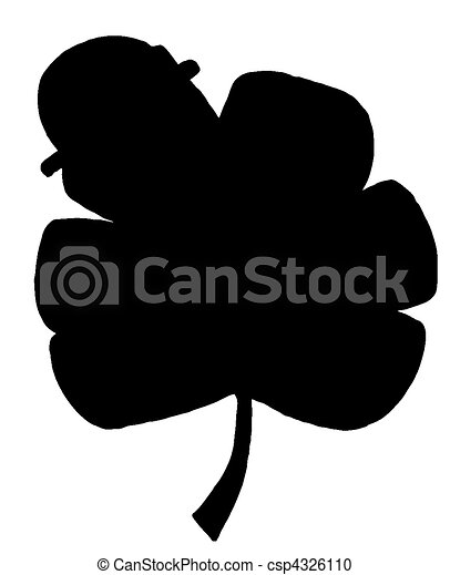 Solid Black Silhouette Of A Clover - csp4326110