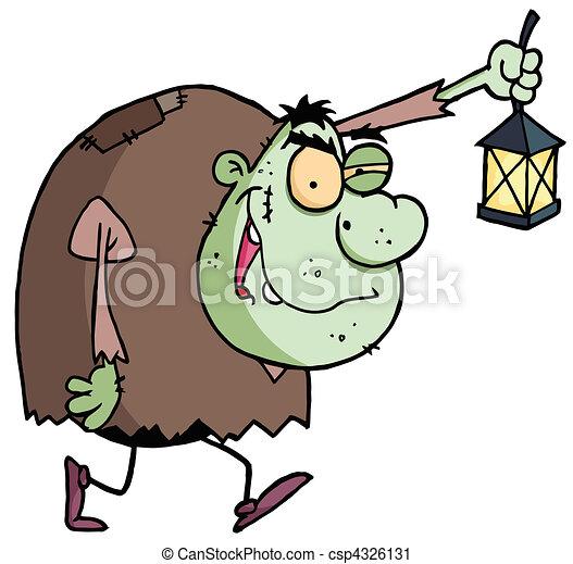 Green Igor Carrying A Lantern - csp4326131
