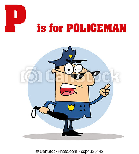 Cop With P Is For Policeman Text - csp4326142