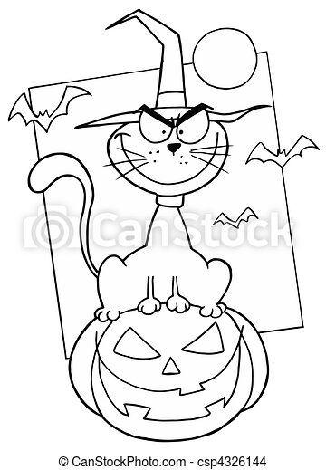 Outlined Cat on Pumpkin  - csp4326144