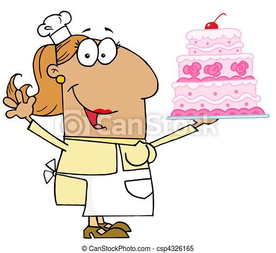 Tan Cartoon Cake Baker Woman - csp4326165